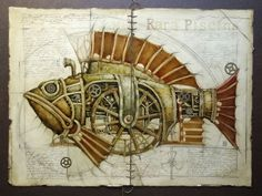 It's not the first time we'll be presenting steampunk artworks on Cruzine. It's first time though, we'll be presenting steampunk illustrations and Design Steampunk, Steampunk Drawing, Steampunk Kunst, Steampunk Artwork, Steampunk Cat, Poster Art, Kunst Poster, Fish Drawings, Animal Drawings