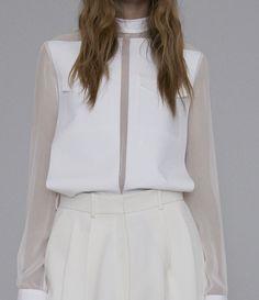 CELINE White Optic White Fine Cotton Taffeta Bonded Plastron Panel Shirt