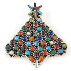 Sterling Silver Christmas Tree Pin set with Turquoise, Coral, Lapis, Spiny Oyster Shell, Opal, and Variscite