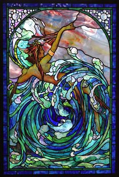 Century Studios - Windows Modern Stained Glass, Stained Glass Angel, Stained Glass Windows, Wizard Of Oz Book, 3d Wall Tiles, Water Fairy, Water Patterns, Glass Texture, Mosaic Glass