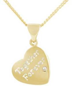 Buy Gold Plated Silver Diamond Together Forever Heart Pendant at Argos.co.uk - Your Online Shop for Ladies' necklaces.