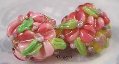 Pretty N Pink Handmade Lampwork Floral Bead Set SRA by TLBeads, $16.00