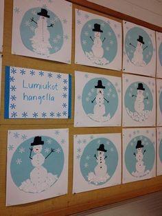 Výsledek obrázku pro kuvis+talvi Winter Activities For Kids, Winter Crafts For Kids, Winter Kids, Art For Kids, January Art, January Crafts, Winter Art Projects, School Art Projects, Christmas Art