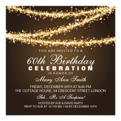Elegant 60th Birthday Party Gold String Lights Card Invitations Uk Invitation Templates