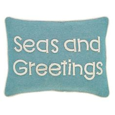 Enjoy a whimsical play on seasonal greetings which bring the beach and Christmas holidays together with this Sand and Shore Seas and Greetings 14 x 18 pillow.