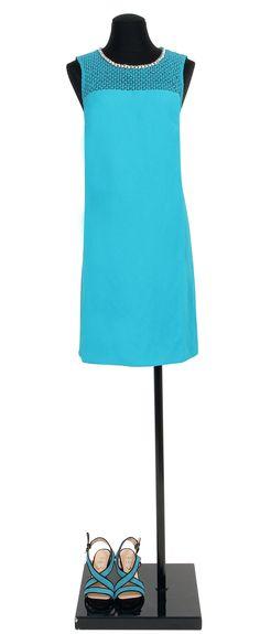 1.2.3 Paris - Robe Carla 149€ Chaussures Eglantine 129€ #broderies #turquoise #robe #bleu #sandales #mode #ete #123