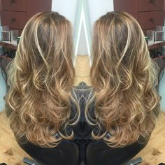 Emily Cain - Costa Mesa, CA, United States. Dark Warm Blonde Base with Carmel and Bright Golden Blondeå Balayage Highlights