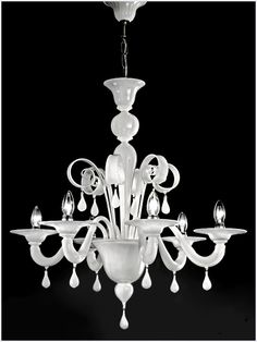 White modern Murano glass chandelier - This is basically my chandelier but in white.  Where could I put this?  Hmmm.....