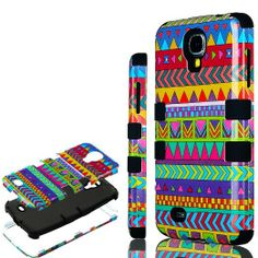 """Amazon.com: myLife (TM) Black - Colorful Tribal Print Design (3 Piece Hybrid) Hard and Soft Case for the Samsung Galaxy S4 """"Fits Models: I95..."""