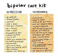 Bipolar care kit for your depression and (hypo)mania days. Mental And Emotional Health, Mental Health Matters, Mental Health Quotes, Bipolar Disorder Facts, Living With Bipolar Disorder, Psychotic Disorder, Mental Disorders, Bipolar Awareness, Mental Health Awareness