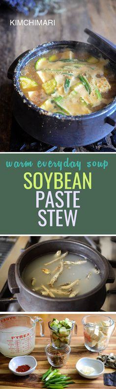 Soybean paste stew brings veggies and tofu, various ingredients together to create a bundle of nutritious gluten free soup! Korean Menu, Korean Dishes, Korean Food, Best Healthy Dinner Recipes, Vegetarian Recipes, Healthy Dinners, Weeknight Dinners, Soup Recipes, Gumbo Recipes