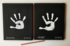 This simple take on the kindergarten classic is perfect for us design-minded mamas.  A pre-primed canvas in black and some white paint is all you really need. Oh, and tiny hands!