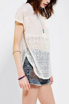 Staring At Stars Crochet Mix Top #urbanoutfitters