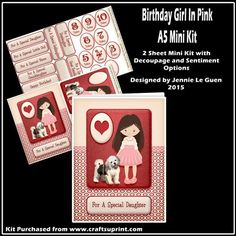 Birthday Girl in Pink A5 Mini Kit on Craftsuprint - Add To Basket!