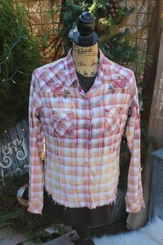Lg Distressed Red Western Shirt / Bleached and Frayed Shirt / Size Large / Western Shirt with rhinestones and roses / Panhandle Slim FF79 by GypsyFarmGirl on Etsy