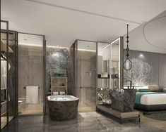 Wanda Vista Hotel in the Jewel Development on Australia's Gold Coast Ensuite Bathrooms, Bathroom Toilets, Modern Interior, Interior And Exterior, Hotel Bathroom Design, 3d Studio, Hotel Guest, Hotel Suites, Restaurant Design