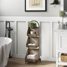 null Lend classic style to a room while improving storage options with this three-bin storage cart made from aged metal for a retro look. The removable bin design lets you load and unload each segment without bending down for fuss-free use. Bathroom Shelves, Small Bathroom, Bathroom Ideas, White Bathroom, Bathroom Images, Bathroom Designs, Neutral Bathroom, Budget Bathroom, Bathroom Cabinets