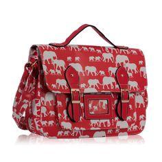 African Elephant Print Satchel - Red