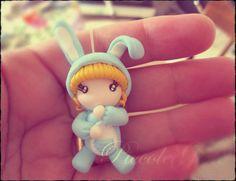 mini-doll rabbit pajamas fimo by PiccoleGioiefimo.deviantart.com on @deviantART