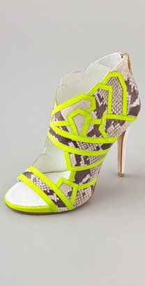 ShopStyle: One By Suecomma Bonnie High Heel Embosed Bootie with Neon Piping