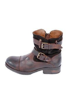 Double Buckle Two-Tone Boots