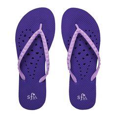 Purple Elongated Heart Flip Flops | Dorm Bedding and Bath | OCM.com