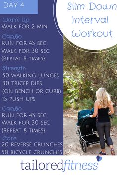 Day 4 - Interval training is the most efficient way to workout and it keeps things from getting boring. Give this fun interval workout a try. All you need is a timer and a curb or bench. COMMENT below when you've done it! #mytailoredfitness #14daychallenge #workout #running #intervals #cardio #fitmom #health #getinshape #exercise