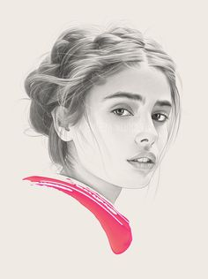 Selected Portraits III on Behance Portrait Sketches, Art Sketches, Beautiful Pencil Drawings, Girl Sketch, Sketch Painting, Woman Drawing, Realism Art, Watercolor Portraits, Illustration Artists