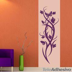 Vinilo floral hojas y mariposas. #decoracion #teleadhesivo