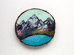 This one-of-a kind painting on cedar is part of a mini art collection available exclusively in my Etsy shop. Dimensions: 3.75 wide  Acrylic and