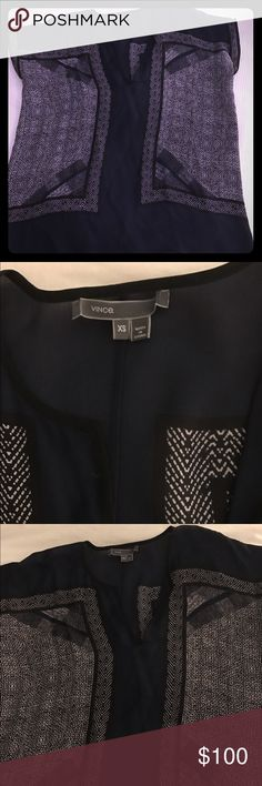 Vince silk navy and white cap sleeve top Size xs. No snags in fabric. Cap sleeves. Vince Tops Blouses