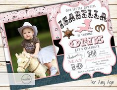 Hey, I found this really awesome Etsy listing at https://www.etsy.com/listing/225953066/cowgirl-first-birthday-invitation