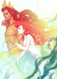 Ariel's parents. King Triton and Queen Athena when they were young.