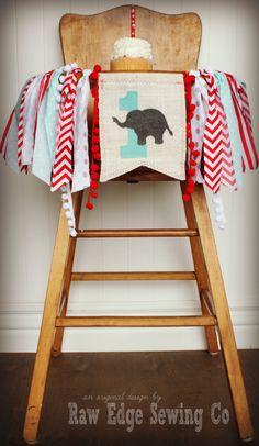 ELEPHANT Birthday Highchair High Chair Birthday by RawEdgeSewingCo