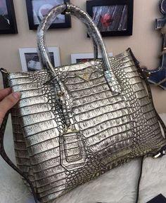 Prada Croco Leather Tote Bag BN2756 Silver 6b9f1c610aff5