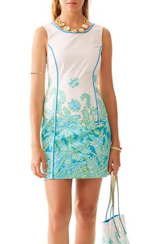 The Carlow Shift Dress features an engineered print made specifically for this gorgeous dress. The print is placed precisely to create the right effect on your new shift. Fully lined. Hidden back zipper closure. Machine Wash Cold.   Carlow Shift Dress by Lilly Pulitzer. Clothing - Dresses - Printed Clothing - Dresses - Mini Sandestin Golf and Beach Resort, Florida