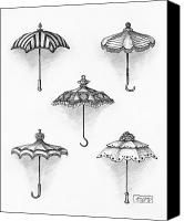 Victorian Parasols Drawing by Adam Zebediah Joseph - Victorian Parasols Fine Art Prints and Posters for Sale