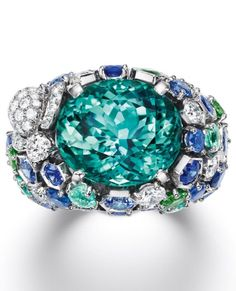 CHAUMET A sapphire, emerald and diamond ring from Chaumet's new 'Bee My Love' collection.