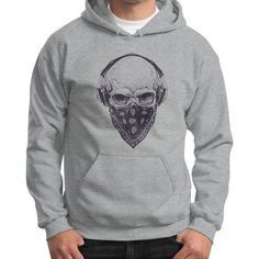 Skull with Headphones Gildan Hoodie (on man)