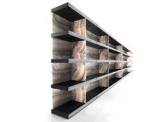 Estante dupla face secional de lariço estilo moderno SHIRO - Kreoo