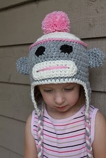 SOCK MONKEY HAT PATTERN- Size 2T-4T