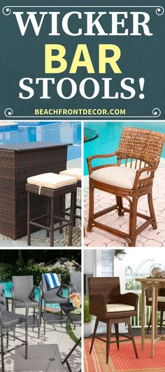 Wicker Bar Stools For Sale! Discover the best rattan wicker bar stools for your indoor bar or outdoor tiki bar. Wicker bar stools can come in seagrass themes or you can find backless bar stools. Wicker Patio Furniture Sets, Bar Furniture For Sale, Furniture Ideas, Short Bar Stools, Bar Stools With Backs, Tiki Bar Decor, Bar Cart Decor, Outdoor Tiki Bar, Wicker Bar Stools