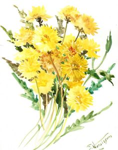 Dandelions, Original watercolor painting, 14 X 11 in, wild flowers, yellow floral art, floral painting---Suren Nersisyan