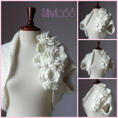 Simple bolero with flowers. Scheme description of knitting Crochet Diy, Crochet Bolero, Crochet Woman, Wedding Shrug, Bridal Shrug, Hand Knitting, Knitting Patterns, Crochet Patterns, Lace Bridal
