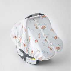 Cotton Muslin Car Seat Canopy, Fox - Spearmint Ventures, LLC