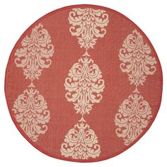 Orly Round 6'7 Outer Patio Rug - Red / Natural - Safavieh, Red/Natural
