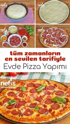 (Videolu Garanti Lezzet) – Nefis Yemek Tarifleri Video lecture How to make pizza at home? people's book at home pizza recipe video and photos of the experimenters are here. Pizza Recipes At Home, Paleo Recipes, Cooking Recipes, Yummy Recipes, My Favorite Food, Favorite Recipes, Wie Macht Man, How To Make Pizza, Food Design
