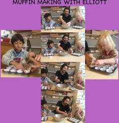 MUFFIN MAKING!  Children are practicing their fine motor skills, measurement, and spatial reasoning to stir, scoop, and fill muffin tins with batter.