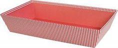 Corbeille rectangle décor vichy rouge et blanc 33 x 20 x 7 cm