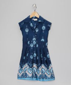 Take a look at this Blue Paisley Heart Collar Dress - Toddler & Girls by Yo Baby on #zulily today!